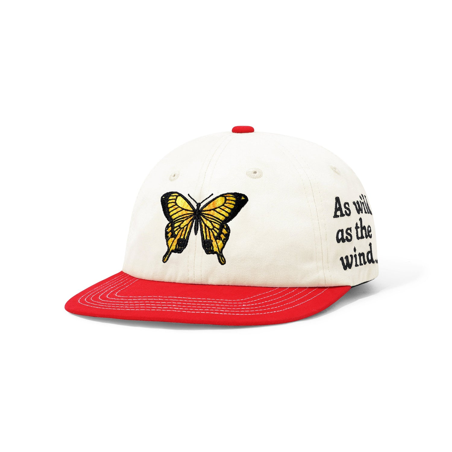 Butterfly 6 Panel Cap, Bone / Red