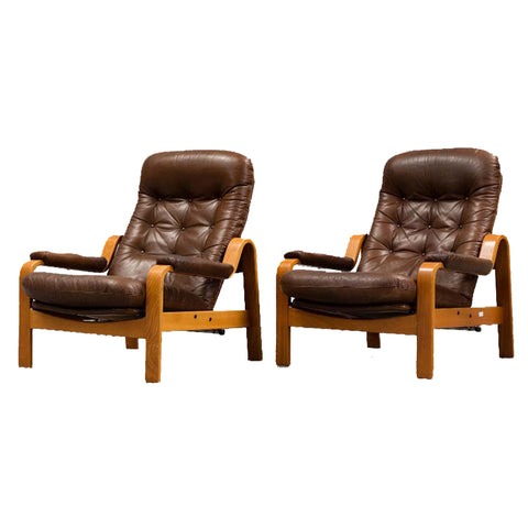 Pair of Danish Teak and Leather Lounge Chairs