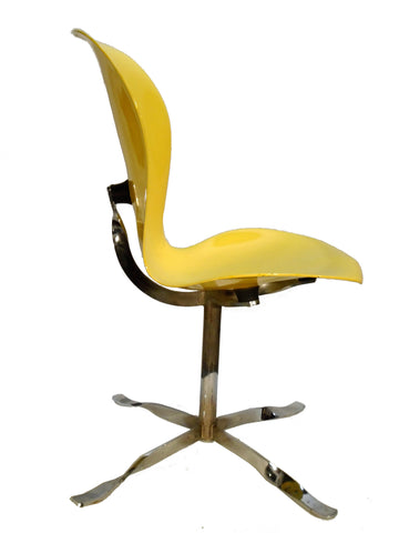 Gideon Kramer Chrome and Lacquered Wood Side Chair