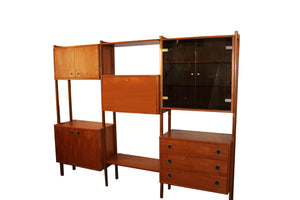Danish Modern Three Bay Teak Wall Unit