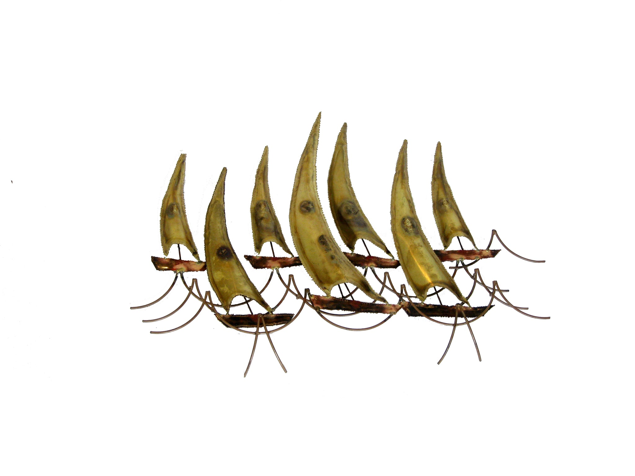 Sailboats Brass Wall Sculpture