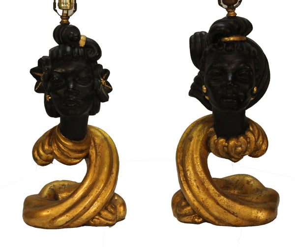Exceptional Pair of Plaster Blackamoor Lamps