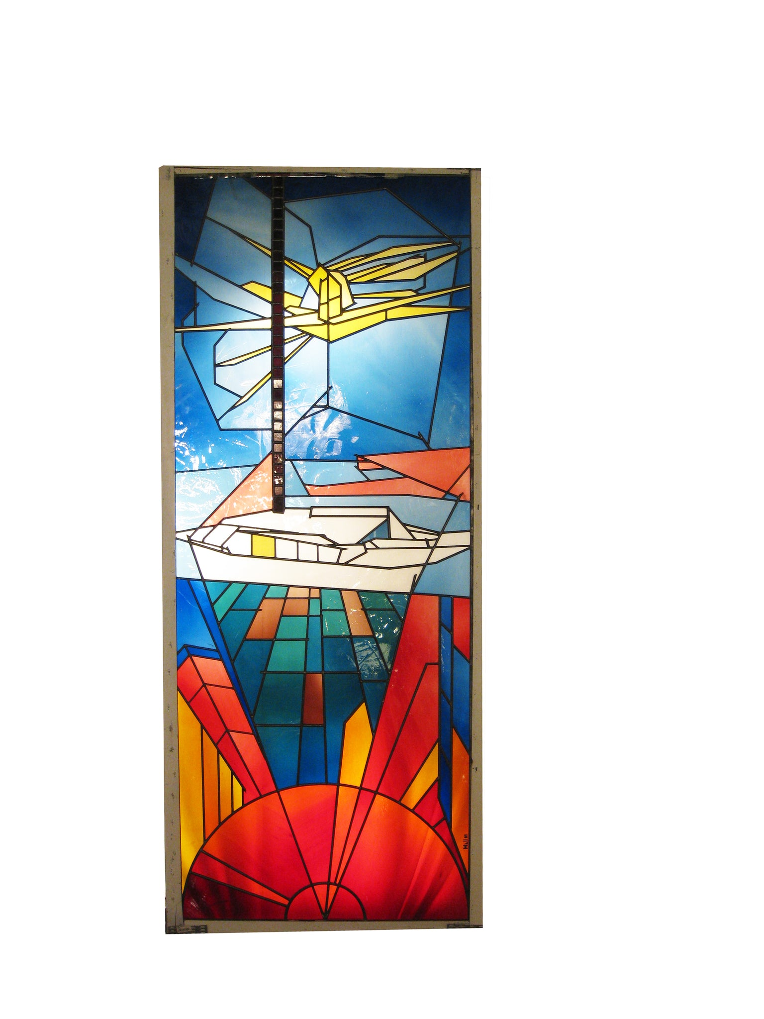 Artist signed Stained Glass Panel