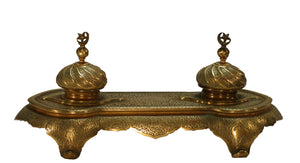 Stunning Brass Double Inkwell