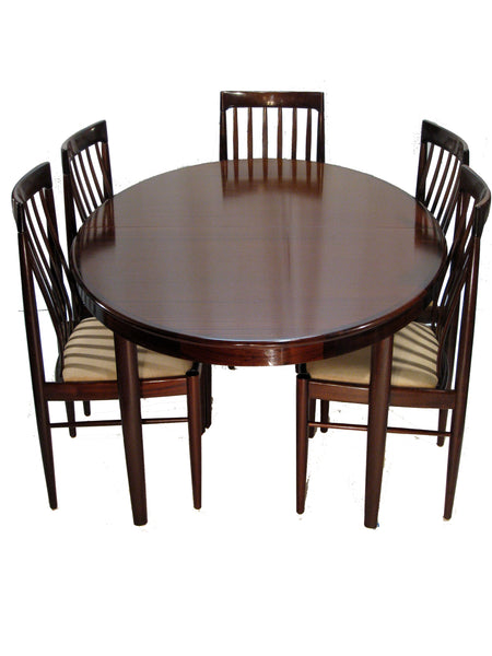 H.W. Klein Rosewood Dining Table w/ Two Leaves and Six Highback Chairs