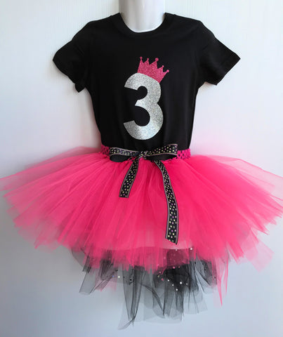 Black & Pink 3rd Birthday Tutu Set
