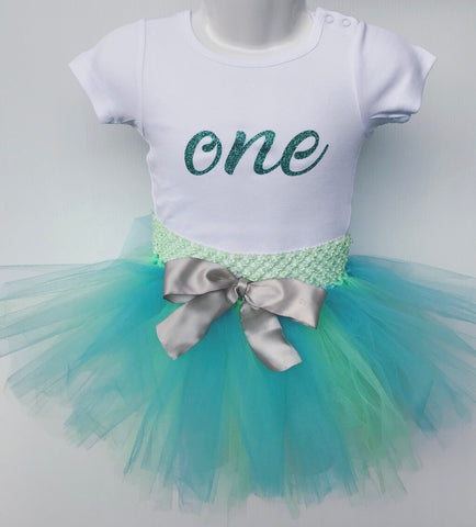 First Birthday Tutu Set - Blue and Mint