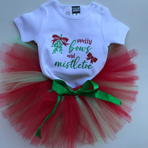 Tutu Set Pretty Bows & Mistletoe