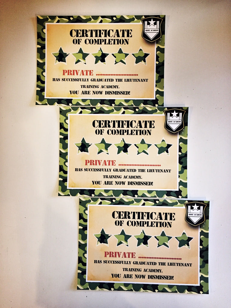 Army party games certificates