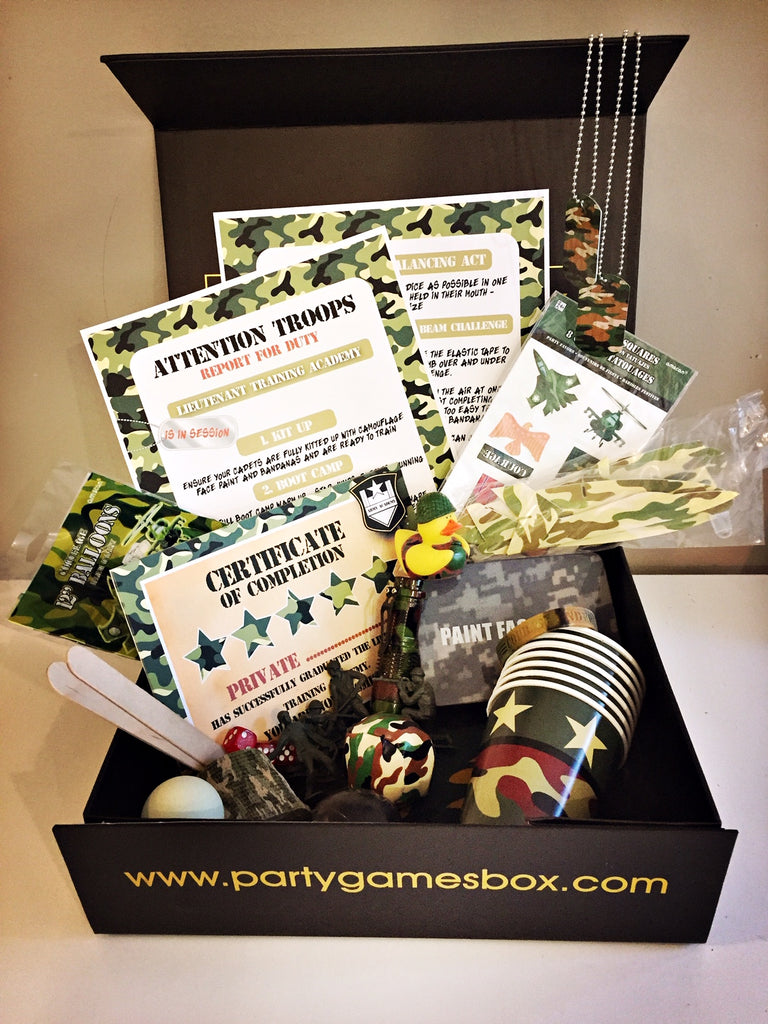 Army camouflage party games box