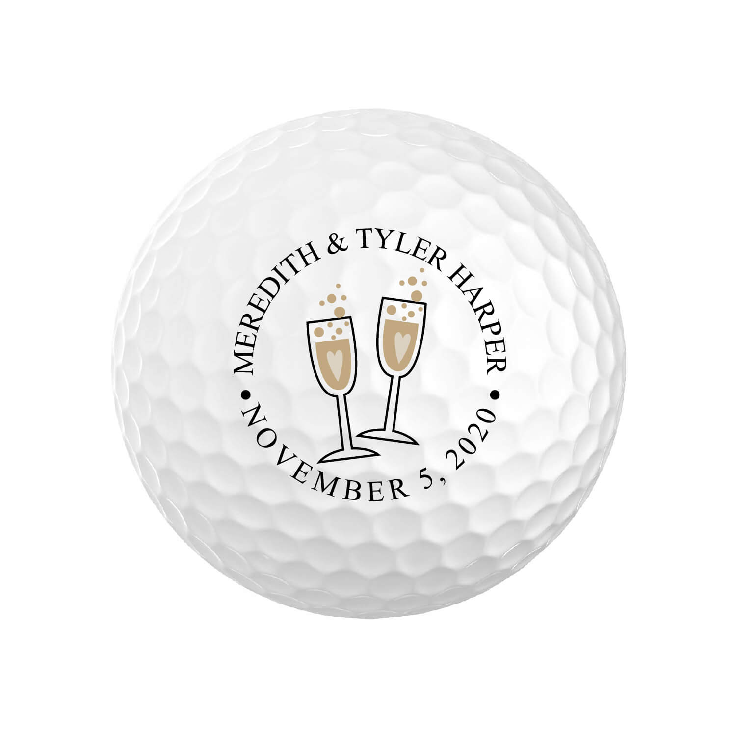 Champagne Flute Wedding Golf Balls