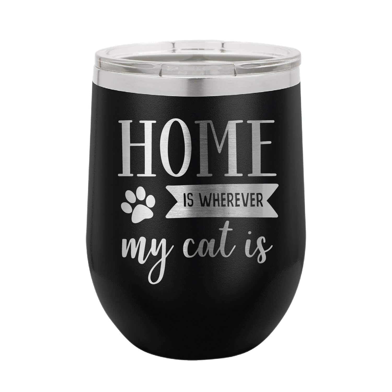 Home is Where My Cat Is Wine Tumbler
