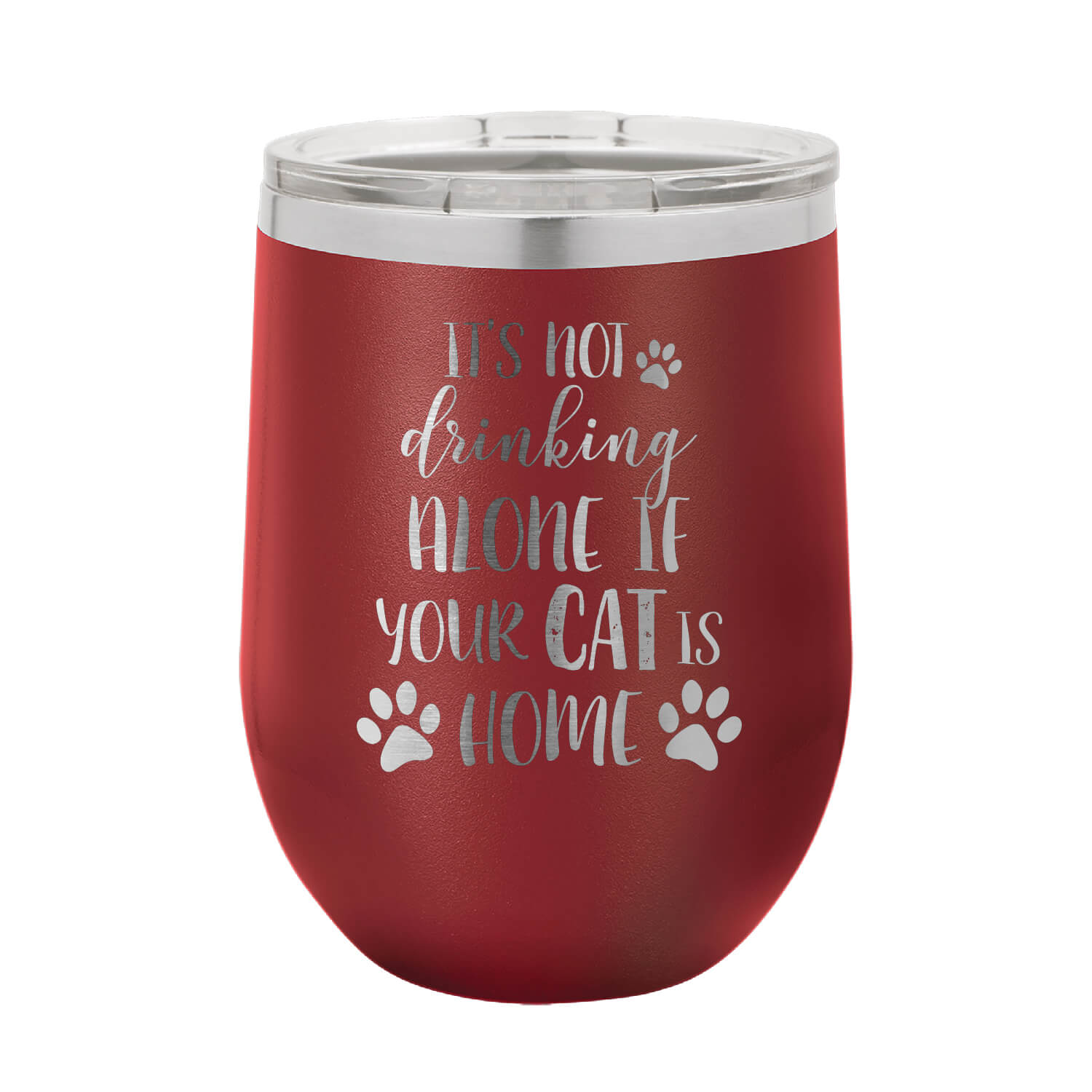 Not Drinking Alone Cat Wine Tumbler