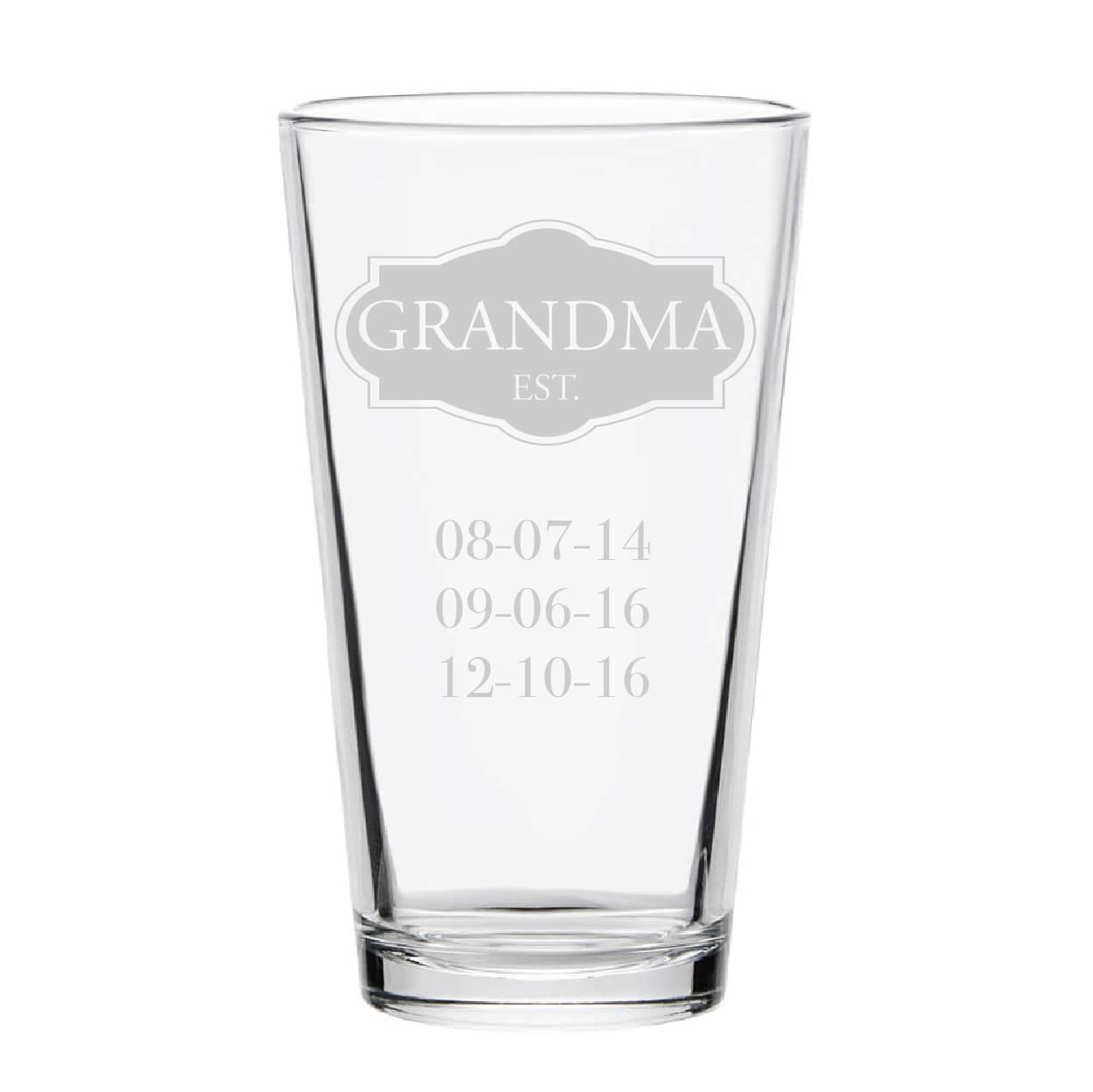 Grandma Established Personalized Pint Glass