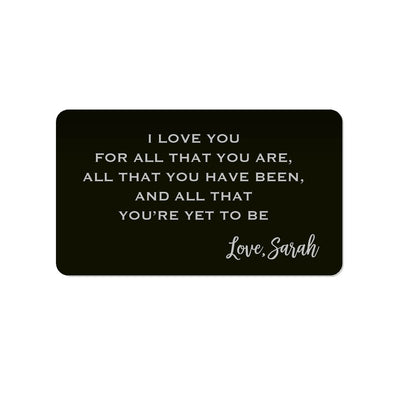 I Love You for All You Are Personalized Wallet Card