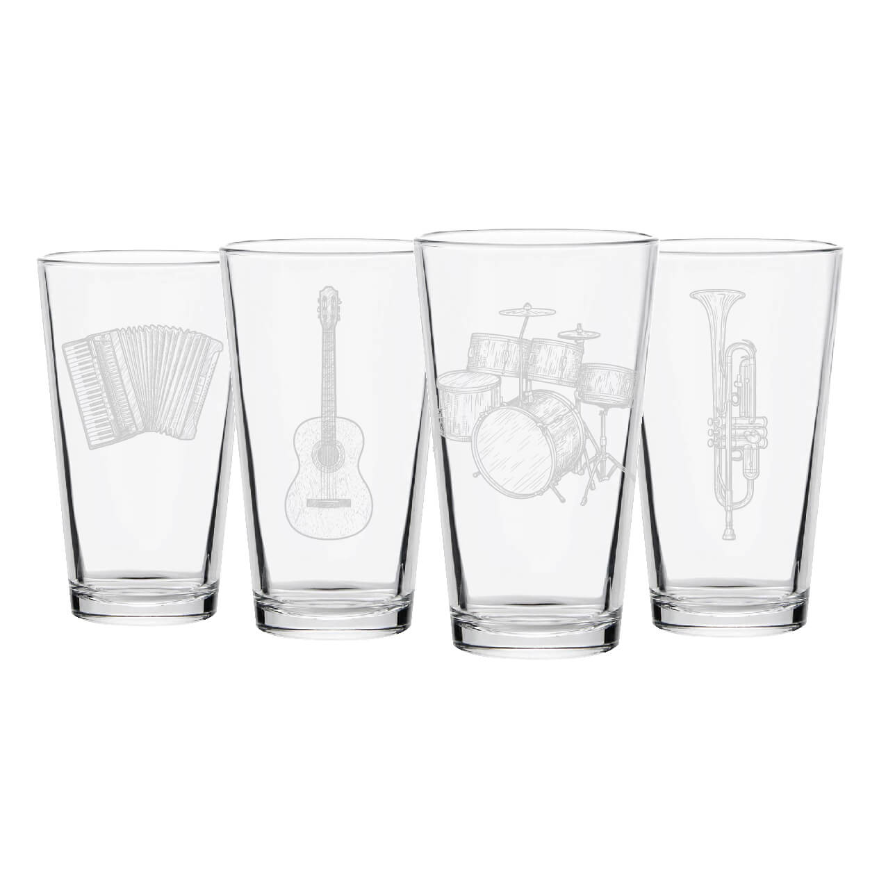 Musical Instrument Pint Glasses- Set of 4