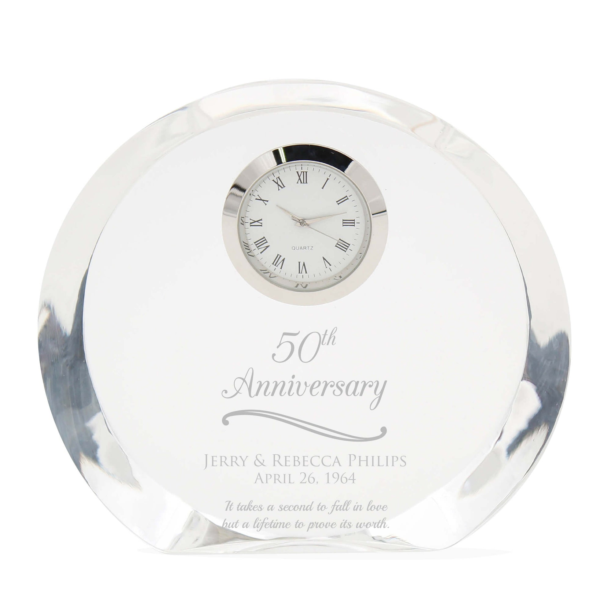50th Anniversary Gift Crystal Clock