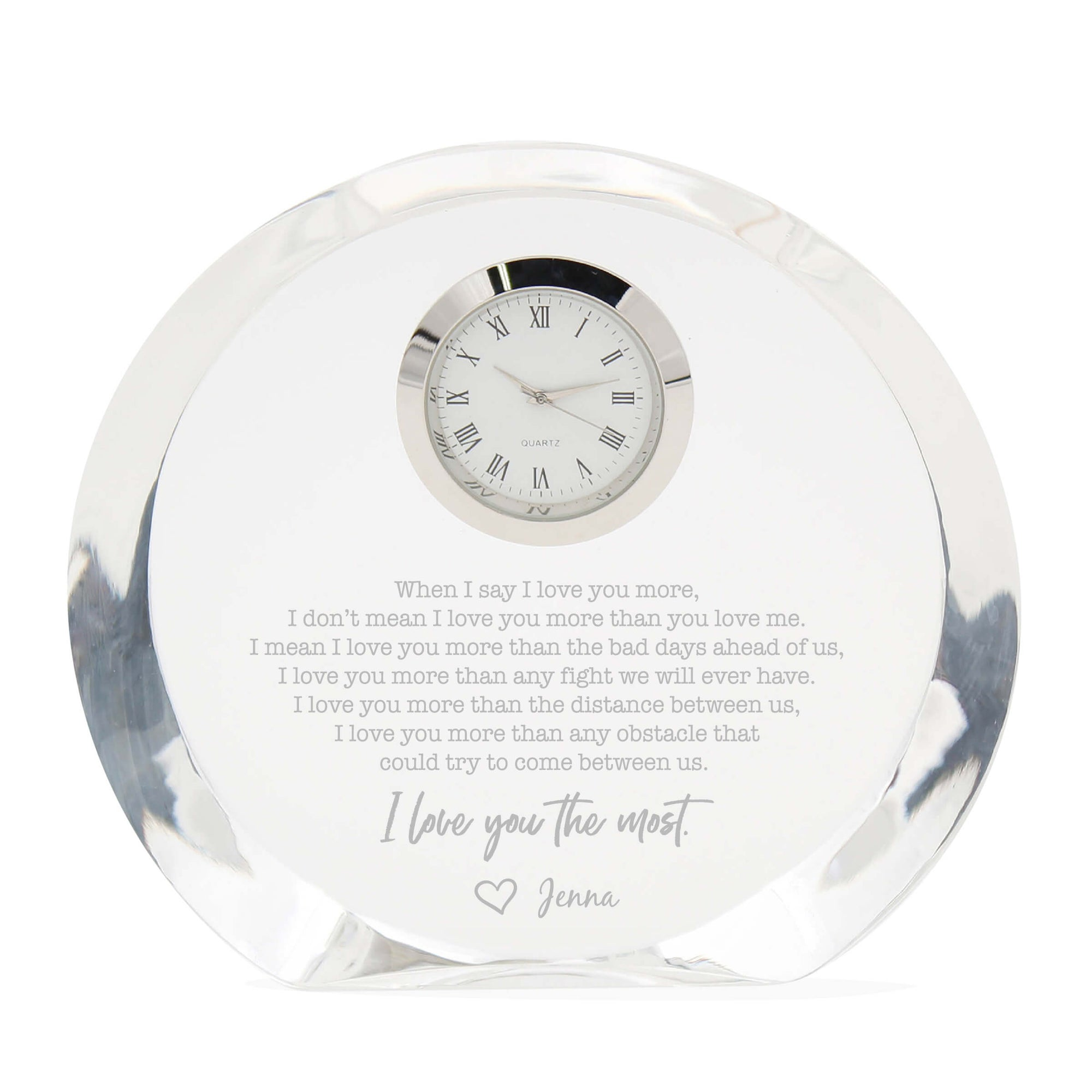 I Love You the Most Crystal Clock