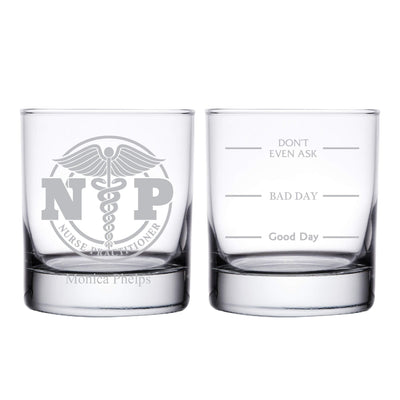 Nurse Practitioner NP Personalized Whiskey Glass