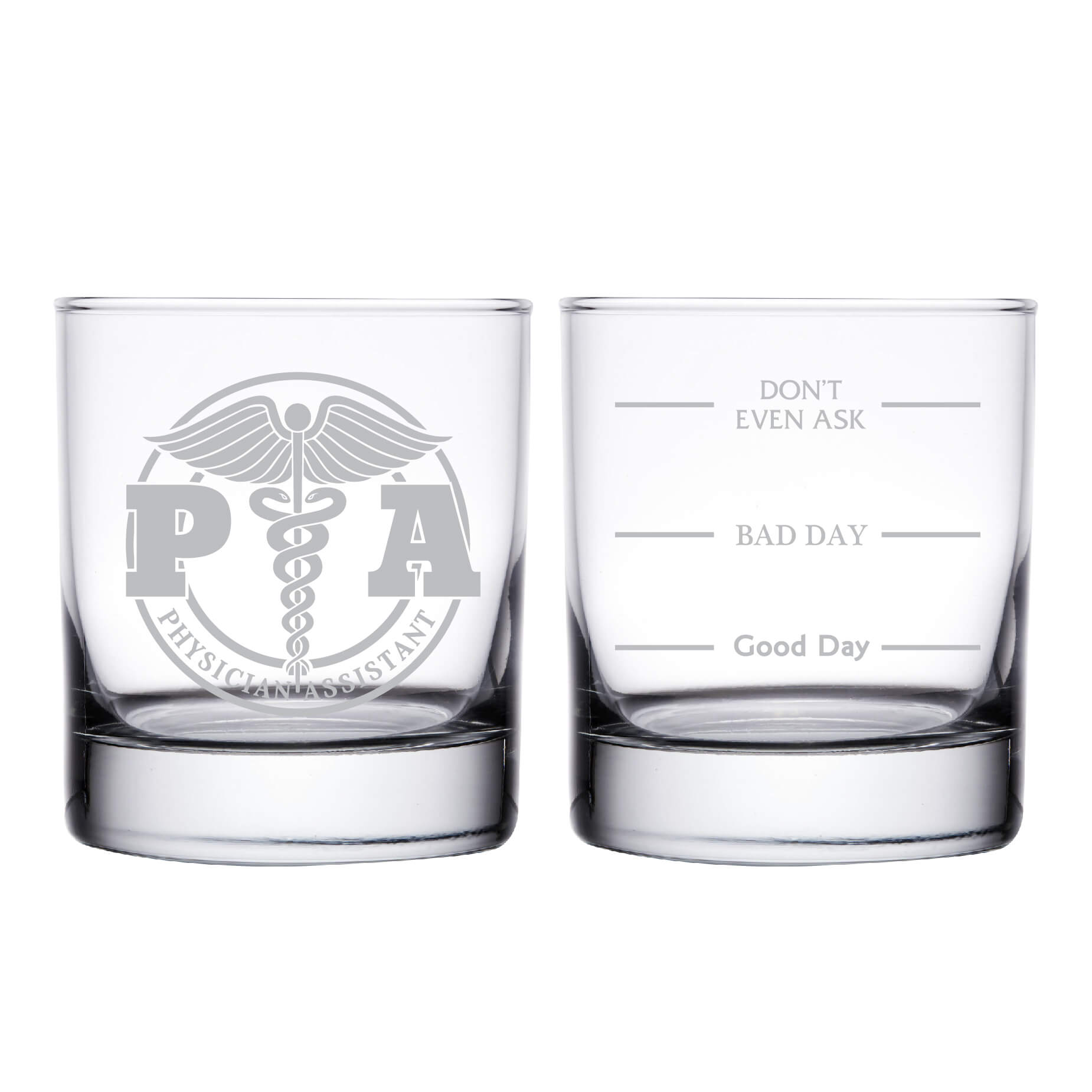 Physician Assistant PA Personalized Whiskey Glass