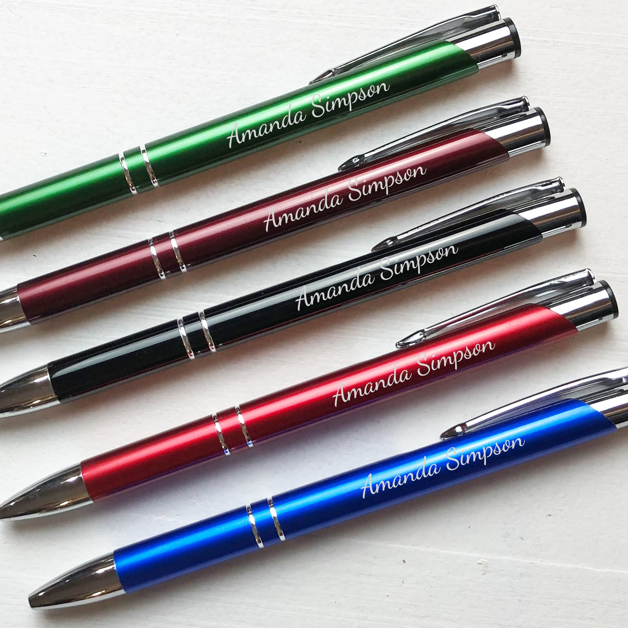Personalized Silver Trim Aluminum Pen