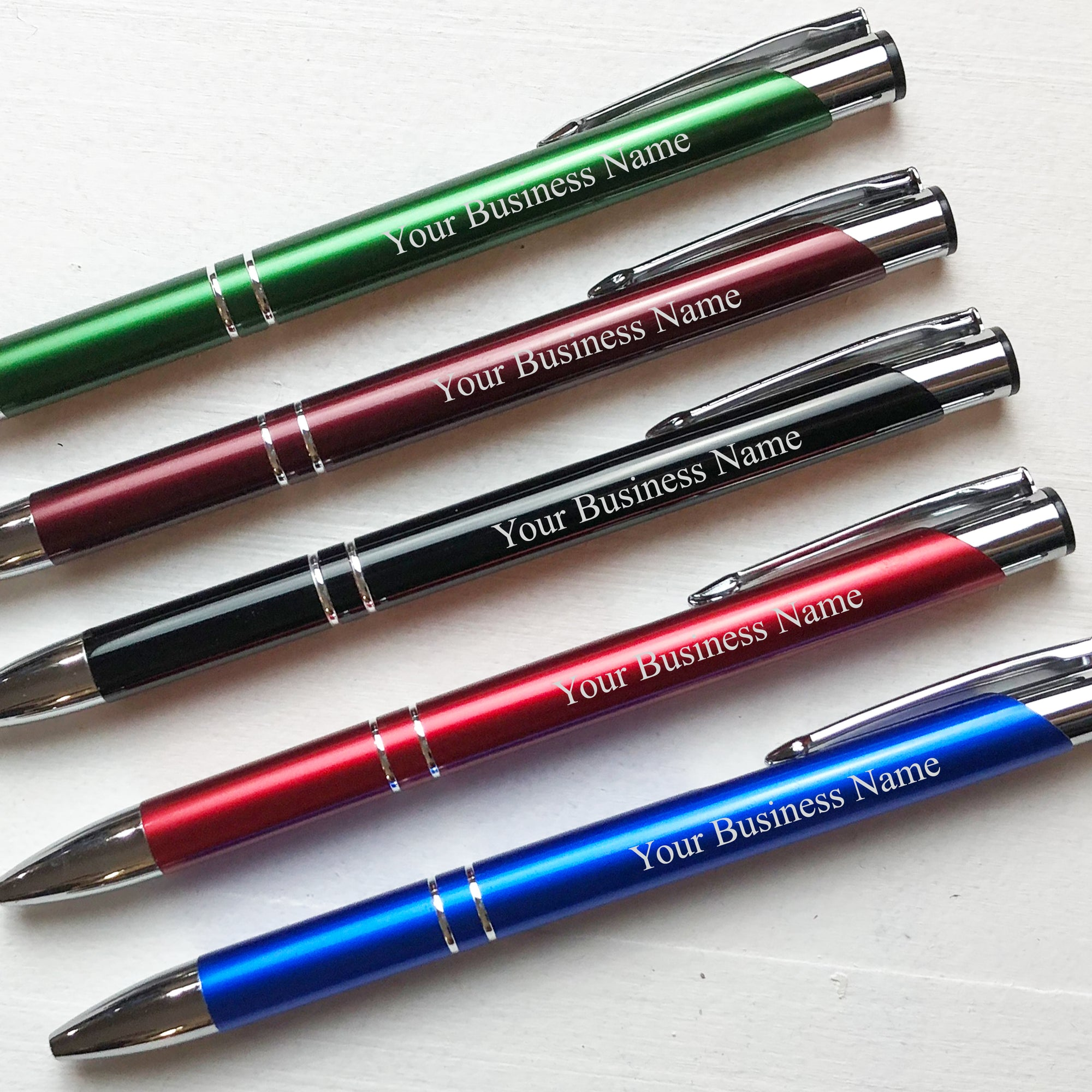 Personalized Business Name Silver Trim Aluminum Pen