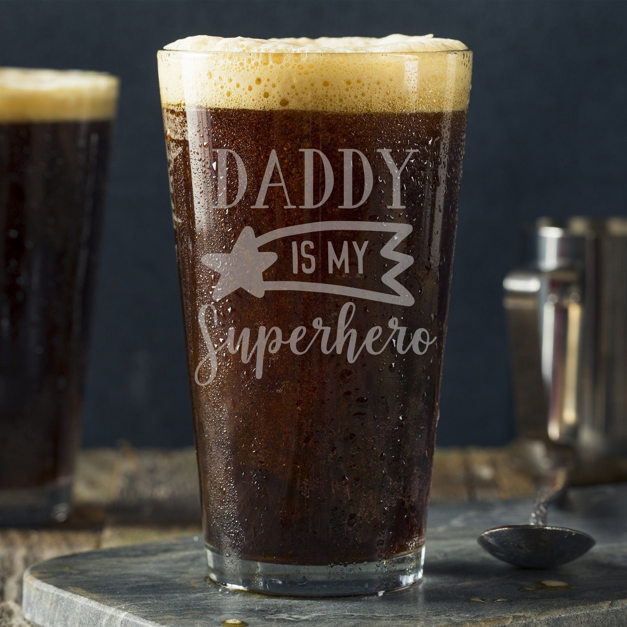 Daddy is My Superhero Pint Glass