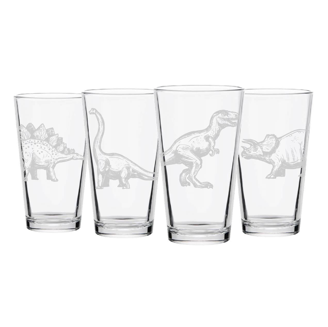 Dinosaur Pint Glasses- Set of 4