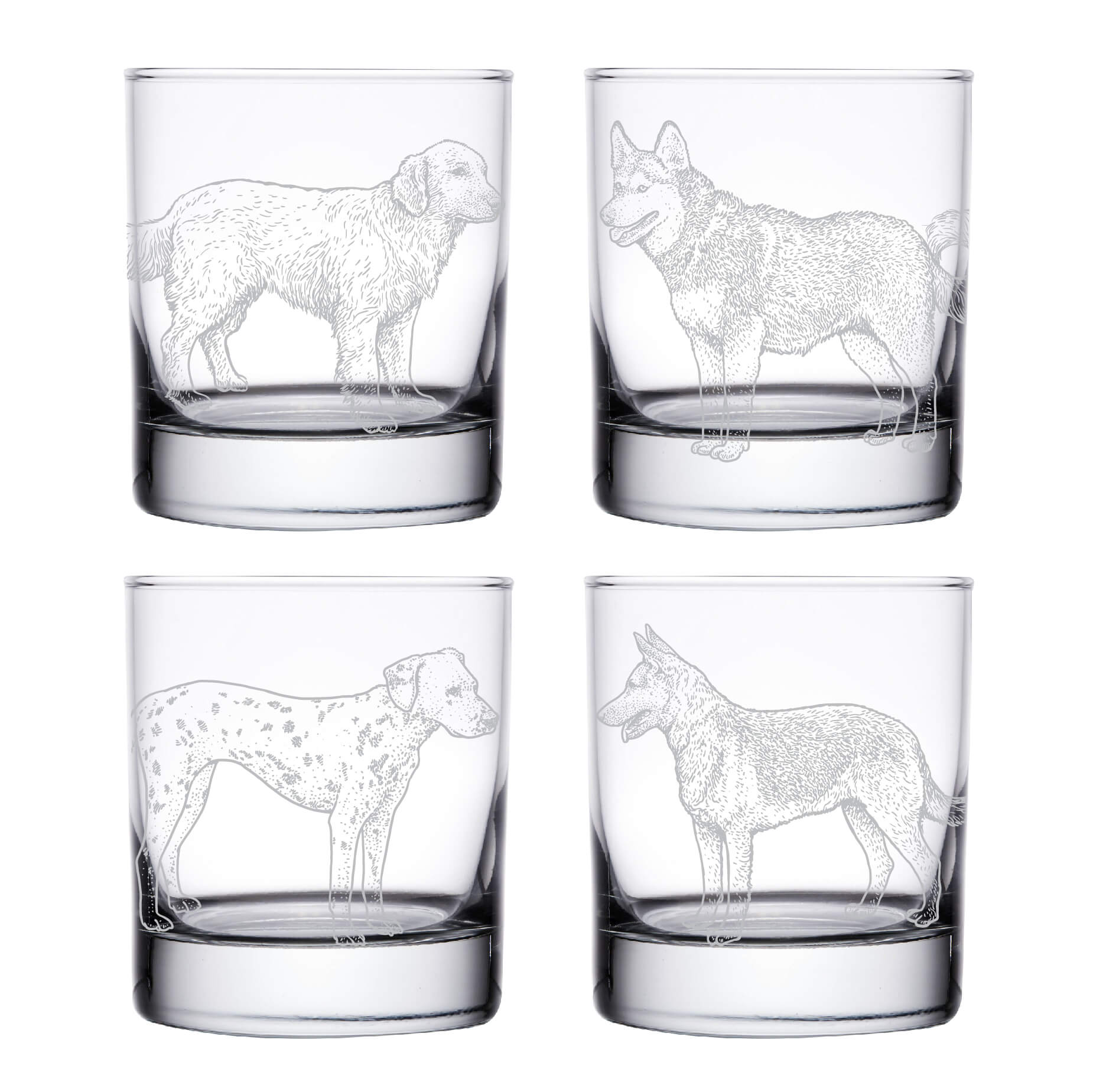 Dog Whiskey Glasses- Set of 4
