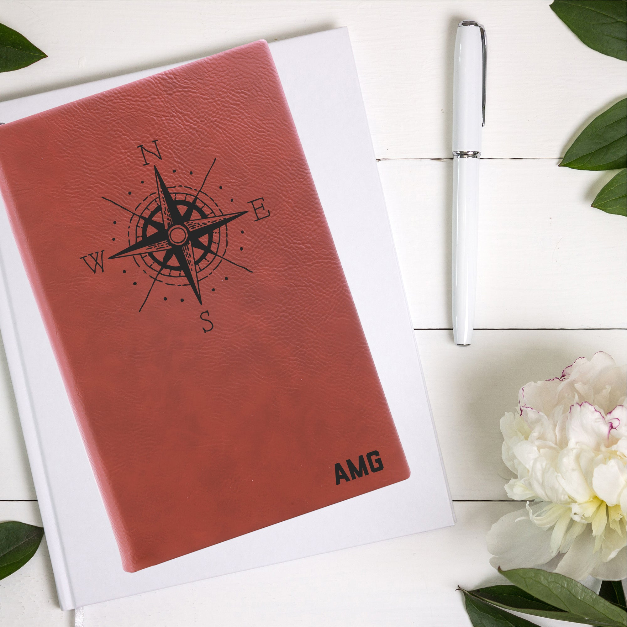 Personalized Compass Leatherette Journal
