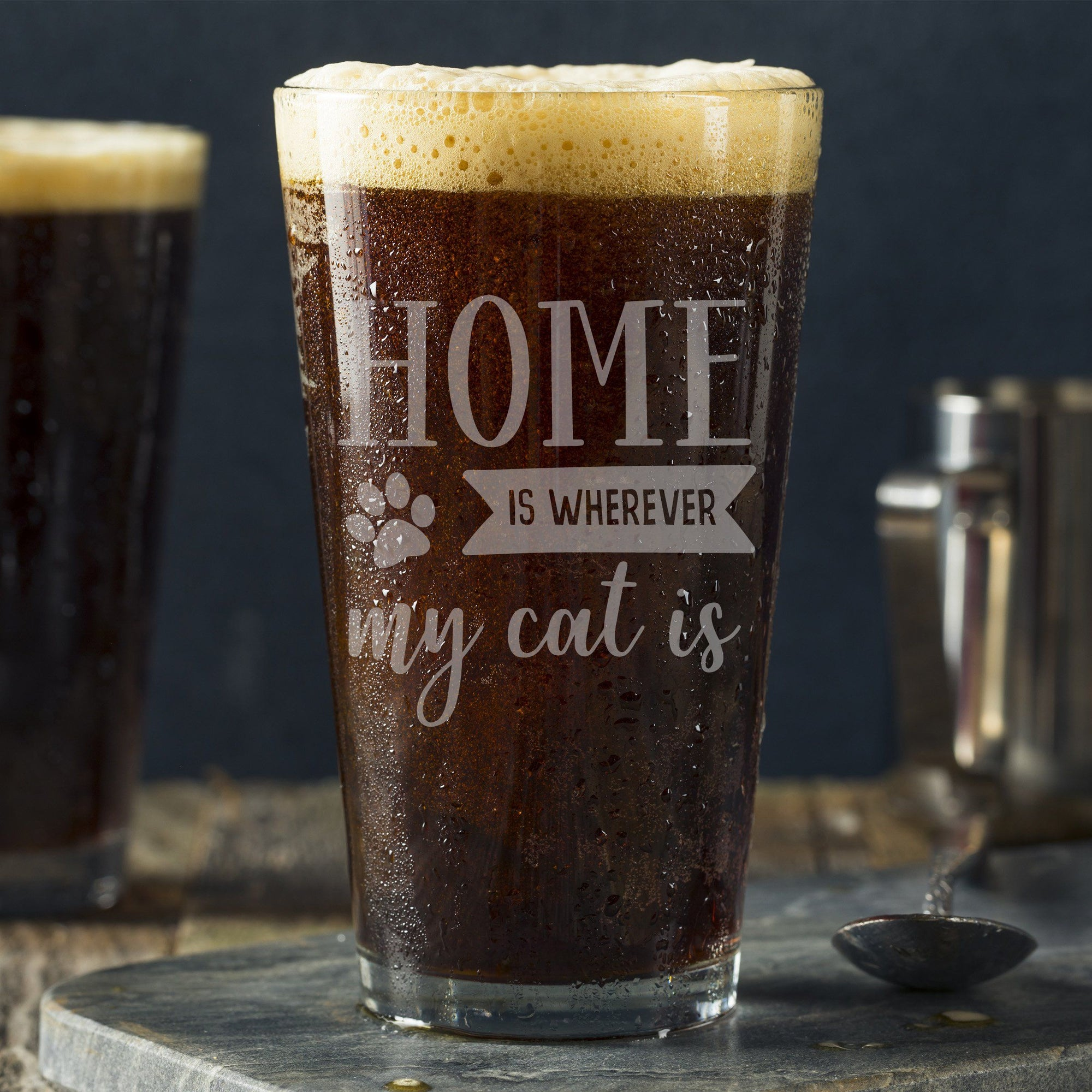 Home Is Where Cat Is Pint Glass