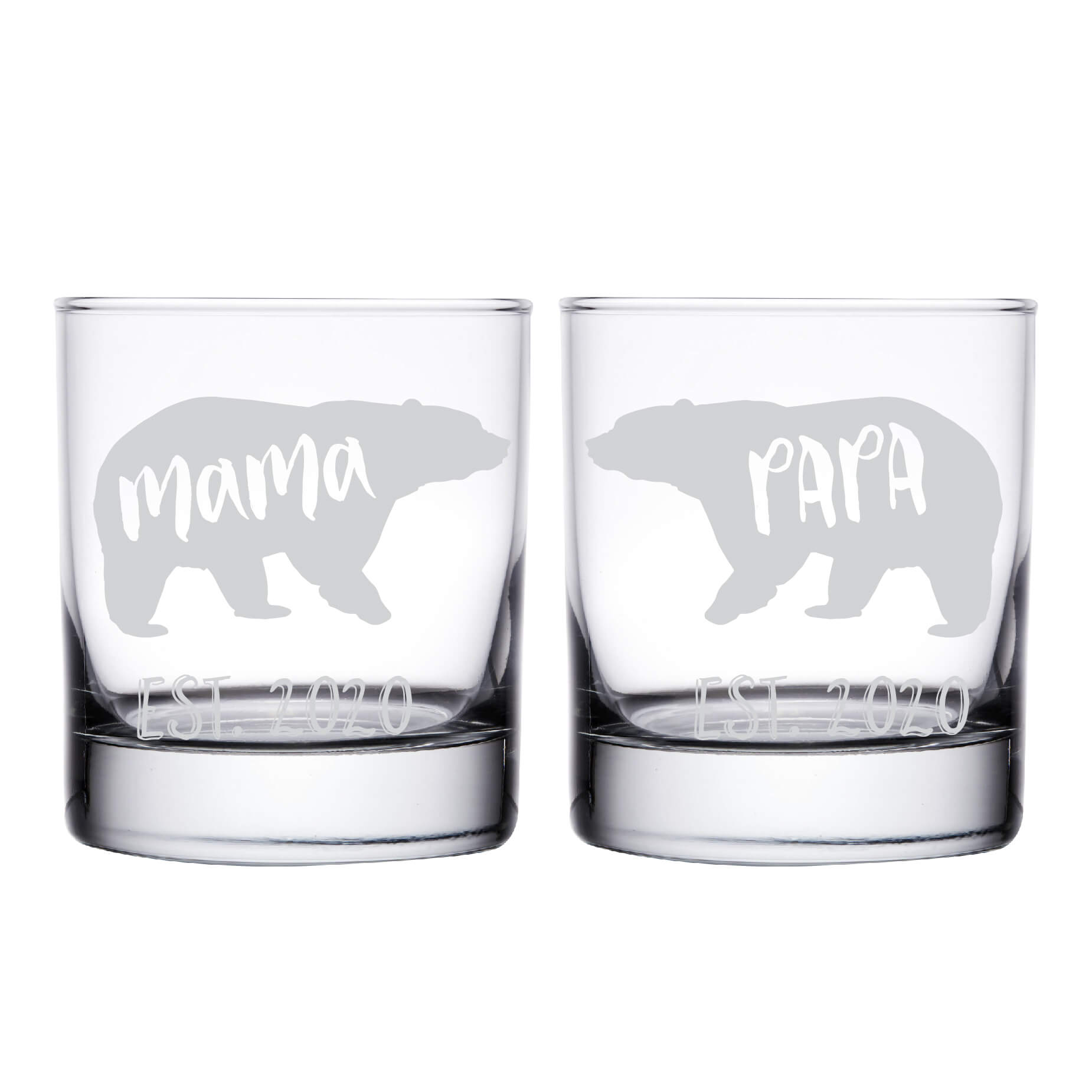 Mama & Papa Bear Whiskey Glass - Set of 2