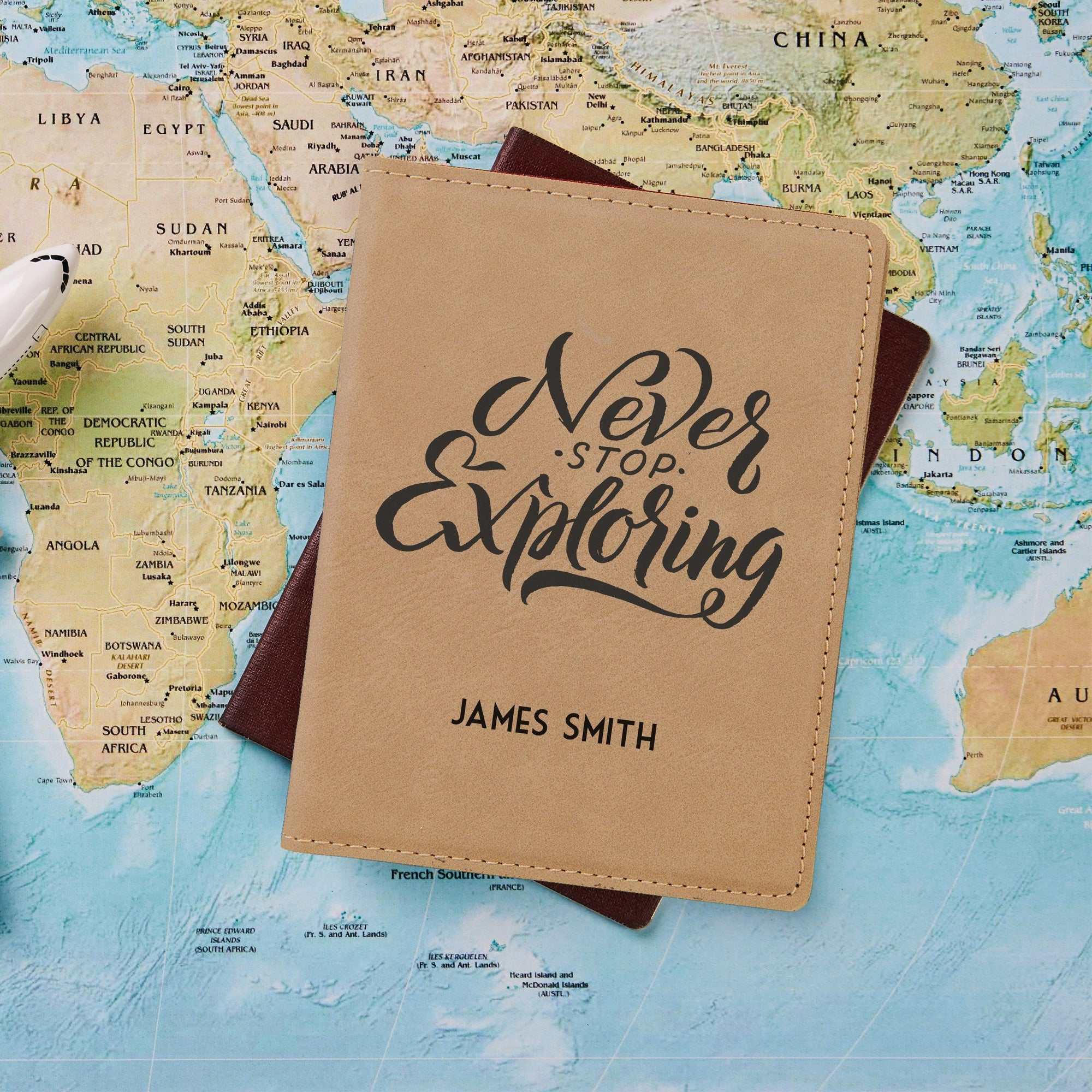 Never Stop Exploring Passport Holder