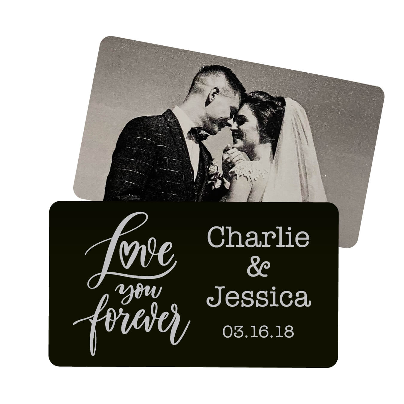 Love You Forever Script Personalized Metal Wallet Card