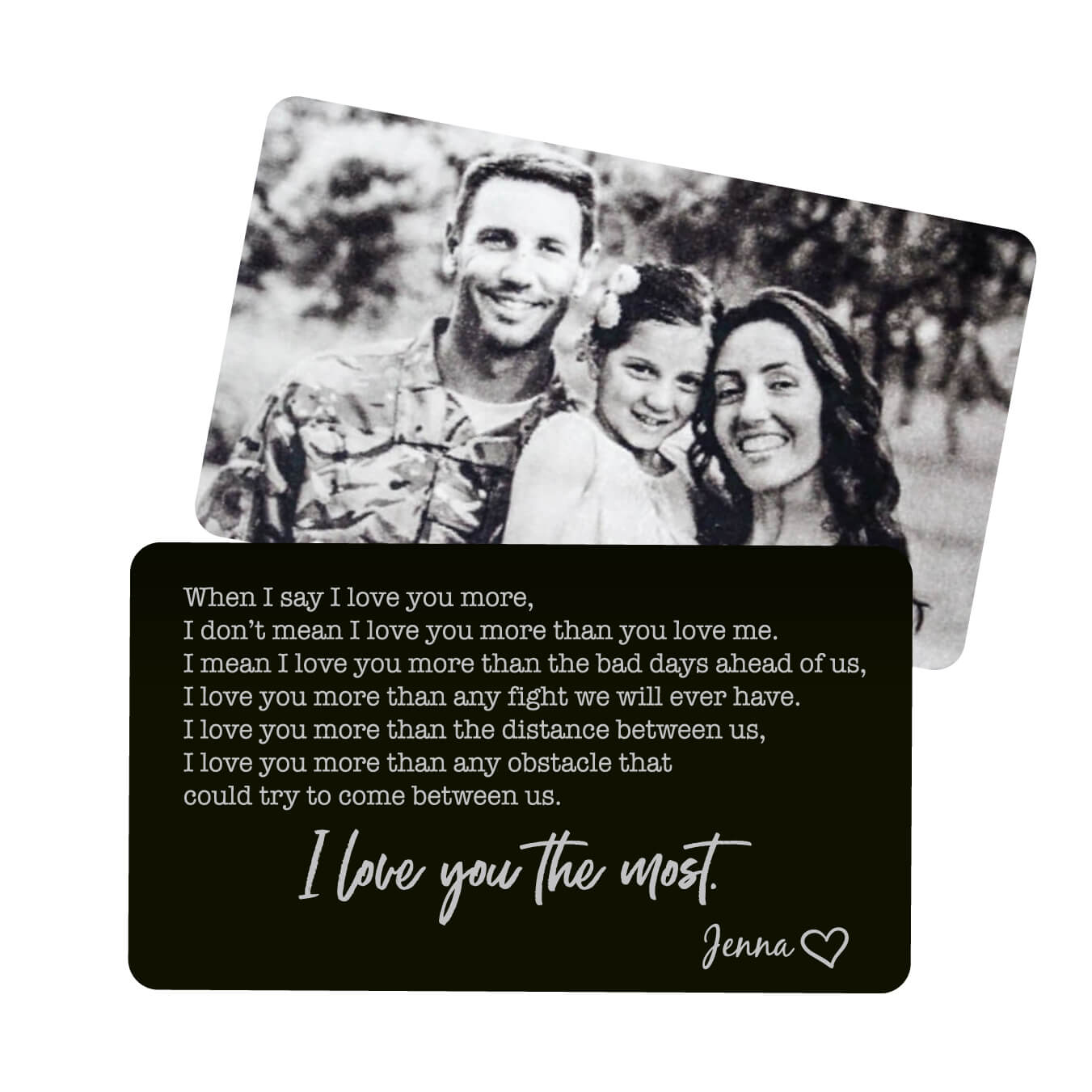 I Love You More Personalized Metal Wallet Card