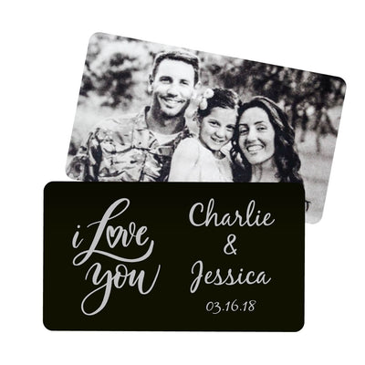 I Love You Script Personalized Metal Wallet Card