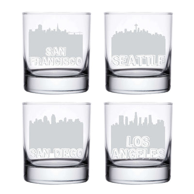 City Skyline Whiskey Glasses San Francisco Seattle San Diego Los Angeles