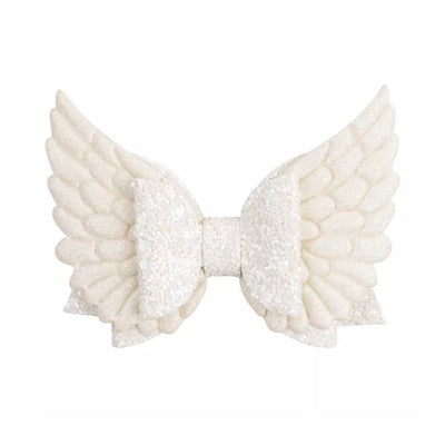 XL Wings Hair Bow- White Glitz