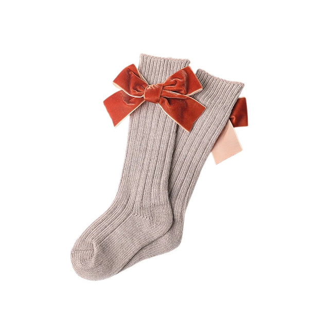 Hartley Velvet Bow Socks- Mocha