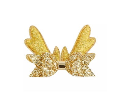 Gold Christmas Hair Bow