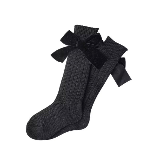 Hartley Velvet Bow Socks- Black