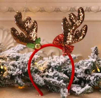 Lil Miss Reindeer Headband- Bronze