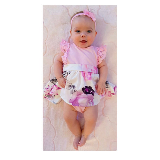 Sisters Pink Floral Dress OR Romper - Bamboletta's Boutique