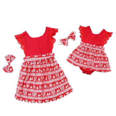 Sisters Christmas Dress Set OR Romper Set