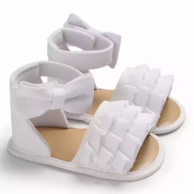 Emaline Ruffle Sandals - White