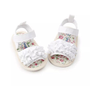 Ruffle Sandals - White
