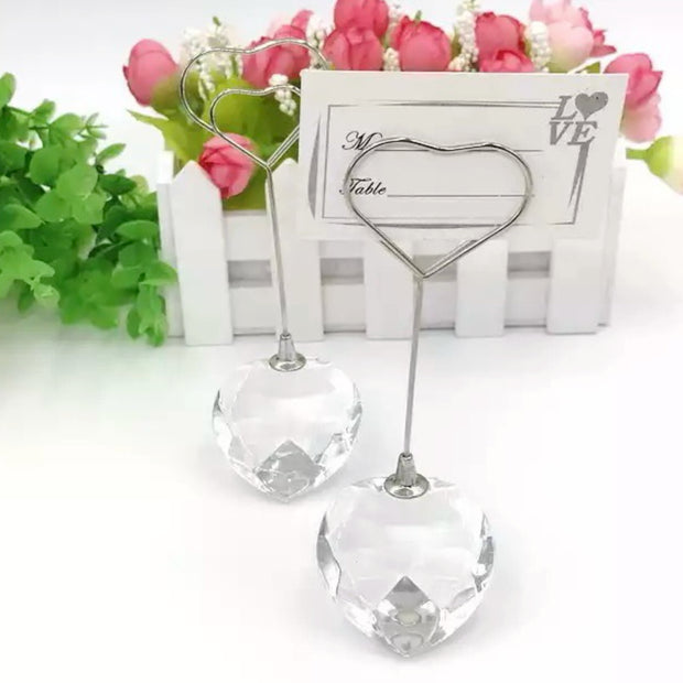Heart Crystal Place Card Holder