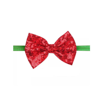 Thea Bow Headband- Sequin Red