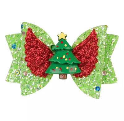 Glitz Tree Hair Bow- Green