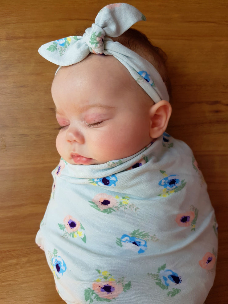 Mint Flowers Swaddle Set - Bamboletta's Boutique